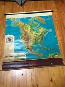 Vintage Cramand039s Physical-political Pull Down Map Of North America