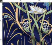 Art Nouveau Dragonflies Navy Gold Classy Deco Spoonflower Fabric By The Yard