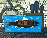 Fish With Poncho 61x50 Cm Oeuvre Dand039art Signandeacutee J-luc Maclav