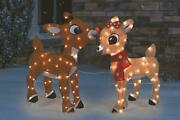 32 Tall Clarice And Rudolph Outdoor Tinsel Light Up Yard Display For Christmas