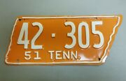 Vintage 1951 Tennessee License Plate No. 42-305 - Nice