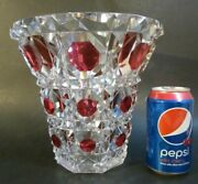 Rare Signed Val St. Lambert Cranberry Cut To Clear Big 9 Crystal Art Glass Vase
