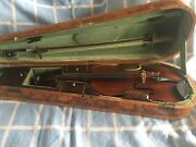 Old Pre-1900 Master Violin 4/4 And Bow In Nice Condition With Unique Wood Case
