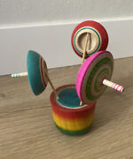 """Vintage Japanese Wood Spinning Top Wooden Game Toy Painted 5.5"""" 3 Tops And Stand"""