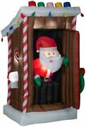 6' Ft Animated Santa In Outhouse Airblown Inflatable