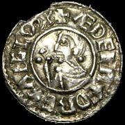 Aethelred Ii Hammered Silver Crvx Penny Barnstaple Mint