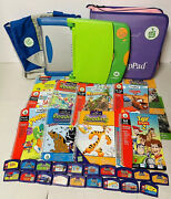 Leap Frog Leap Pad Learning Game System Backpack Case 20 Books Cartridges Lot