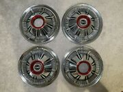 """🔥1966-1977 Ford Bronco 4x4 F100 F150 Truck Hubcaps Nice Driver 15"""" Red Trim🔥"""