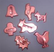 7 Cookie Cutters Copper Santa Bunny Holly Chicken Dog Bell Cutter Nice
