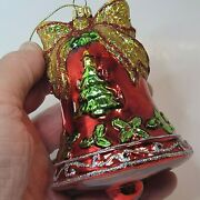 Fitz And Floyd Blown Glass Red Bell Christmas Ornament Tree Bow Holly Glitter