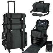 Professional Rolling Makeup Case Soft Sided Cosmetology Organizer Wheeled