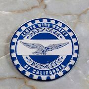 Blue And Chrome Eagle Zenith Wire Wheel Chips Emblems Decals Set Of 4 Size 2.25in.