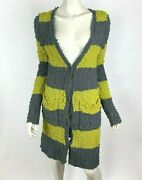 Free People Gray Green Rugby Striped Cardigan Duster Long Sleeve Wool Bl Women S