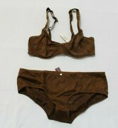 Adore Me Women's Lace Bra And Panty Set Brown Size 32dd/medium Nwt