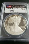 Pr69 Dcam 1996-p American Silver Eagle - Mercanti Signed - Flag Pcgs Proof