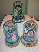 Turner Entertainment Wizard Of Oz Glass Dome Music Box Lot Of 3 1996 Read 1st