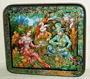 Russian Lacquer Box Kholui Alice In Wonderland. Mad Tea Party Hand Painted