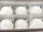 Lot 6 Czech Blown Glass Hand Decorated White Flock Christmas Tree Ornaments