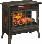 3d Infrared Electric Fireplace Stove With Remote Control - Portable Bronze