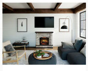 Allen + Roth 43.5-in W Faux Stone Infrared Quartz Electric Fireplace