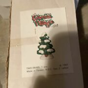 Lot 2 Lefton Snow Tree Holiday Colonial Christmas Village 5 Inches