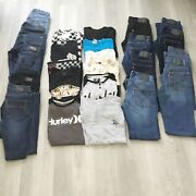 Huge Lot Of Boys Clothes Levi's Volcom Size 10, 12 14 Lot Of 24 Rsq