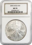 2005 American Silver Eagle S1 Gem Uncirculated Ngc Ms70