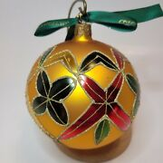 Waterford Holiday Heirlooms Blown Glass Ornament Gold Red Green