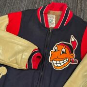 Cleveland Indians Jacket Mens L 44 Vintage Mitchell Ness 80s Wahoo Leather Rare