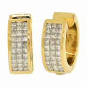 18k Gold 3.00ctw Invisible Set Chunky Hoop Earrings Estate Mens Womenand039s 20mm