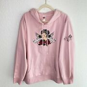 Betty Boop Hoodie Sweater Womens Size 3x Angel Graphic Pink Pullover Long Sleeve