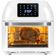 16.9qt 1800w 10-in-1 Family Size Air Fryer Countertop Oven, Rotisserie, White