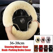 36-38cm Car Steering Wheel Cover Fur Furry Thick Gear Knob+parking Brake Cover