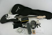Donner 39 Inch Left Handed Electric Guitar Solid Body Black Full Size White