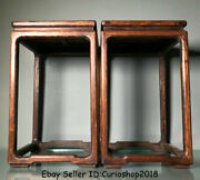 16 Old China Huanghuali Wood Stool Flower Stand Shelf Antique Furniture Pair