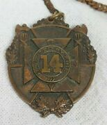 Rare 14th Regiment Ny State Militia Baptized By Fire Medal Fob By Dieges And Clu