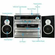 Trexonic 3-speed Vinyl Turntable Home Stereo System With Cd Player, Double C...