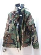 Military Surplus Chemical Protective Woodland Bdu Jacket With Hood Medium/long