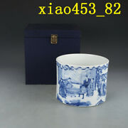 Chinese Antique Kangxi In Qing Dynasty Blue And White Character Pen Holder