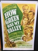 How Green Was My Valley Original Movie Poster Maureen Oand039hara Hollywood Posters
