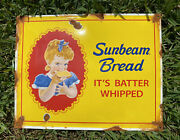 Vintage Sunbeam Bread Porcelain Large Grocery Food Bakery Metal Gas And Oil Sign