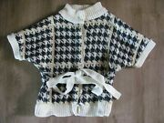 Janie And Jack Houndstooth White And Black Girls Sweater With Belt Size 6.