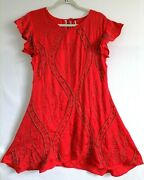 Free People Womens A Line Dress Red Lace Up Ruffle Cap Sleeve Embellished M