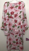 Women's White Stag Casual Church Dress Pink Floral Multi Plus 24 W