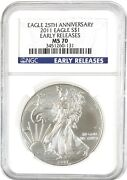 2011 American Silver Eagle S1 Ngc Ms70 - Early Releases 25th Anniv. Blue Label