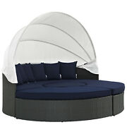 Modway Sojourn Outdoor Patio Sunbrella Canvas Navy Sectional Daybed With Canopy