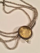 Extasia Vintage Signed Glass Cameo Pendant Multi Strand Pearl Necklace As Is