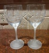 Lot Of 2, Avon Hummingbird Collection Crystal Etched 8 1/4 Wine Glasses Goblets