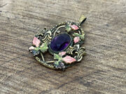 Antique 19th Century European Gold Plated And Amethyst Pocket Watch Fob / Pendant