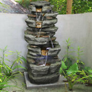 32.6 Inch Rock Fountain Garden Decoration Fountain Home Office With Led Lights
